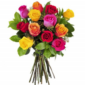 Hand Bouquet Of 12 Mixed Roses With Fillers