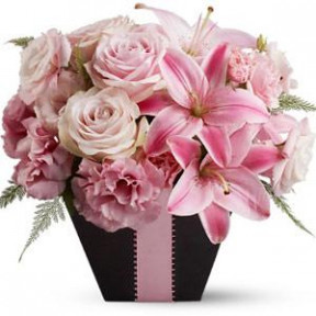 Basket Arrangement Of Pink Flowers