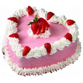 1.5 Kg Heart Shaped Strawberry Cake