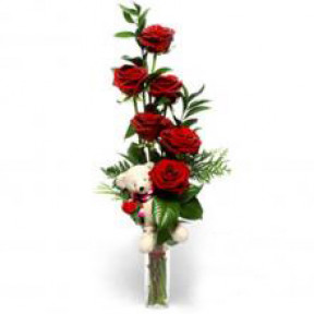 Red Roses With Free Teddy Bear