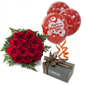 Red Roses, Chocolates And Mylar Baloons