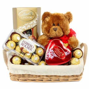 Basket Of Lindt Chocolates, Teddy Bear And 16 Ferrero Rocher