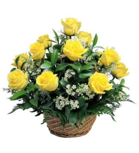 12 Yellow Roses Basket