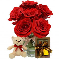 Red Roses Vase , Teddy Bear, Chocolates And Free Mylar Balloon