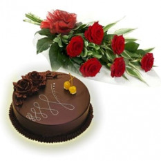 Bunch Of 6 Red Roses And 1 Kg Chocolate Cake