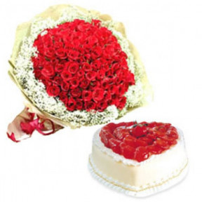 Bunch Of 50 Red Roses And 1.5 Kg Heart Shaped Strawberry Cake