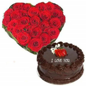 Heart Shaped Arrangement Of 24 Red Roses And 1 Kg Chocolate Cake