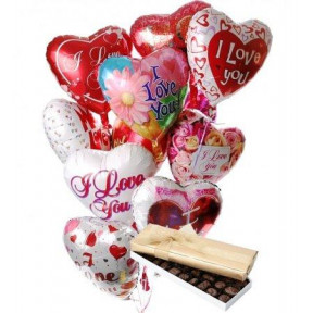 10 Heart Shaped Mylar Balloons And Box Of Chocolates