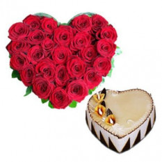 Heart Shaped Arrangement Of 25 Red Roses And 1.5 Kg Heart Shaped Vanilla Cake