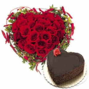 Heart Shaped Arrangement Of 25 Red Roses And 1.5 Kg Heart Shaped Chocolate Cake