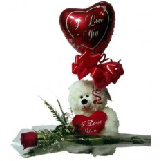 Teddy Bear And Heart Shaped Mylar Balloon With A Free Red Rose
