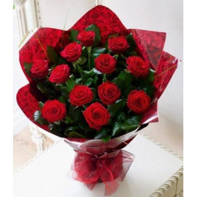12 Red Roses Bouquet - 1