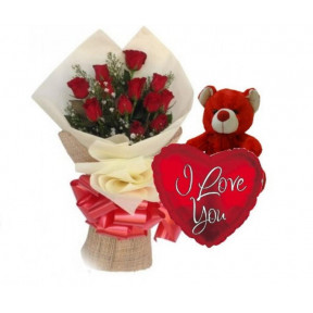 Red Roses Bouquet And Teddy With Free Balloon