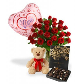 Bouquet Of 25 Red Roses, Teddy Bear, Lindt Chocolates And Heart Shaped Helium Balloon.