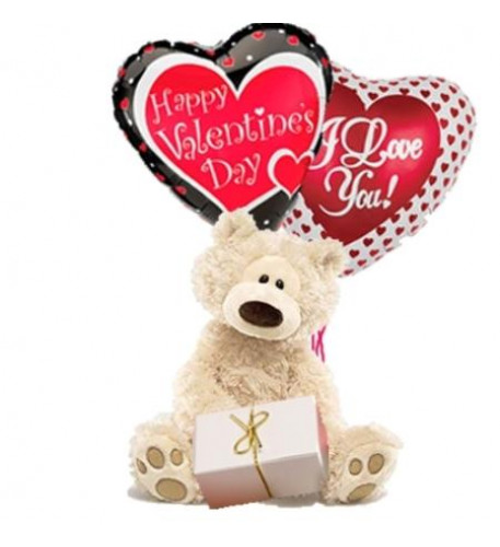 Chocolates, Teddy Bear And Heart Shaped Mylar Balloons