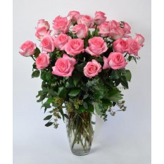 Arrangement Of Pink Roses, Teddy Bear And Heart Shaped Box Of Chocolates