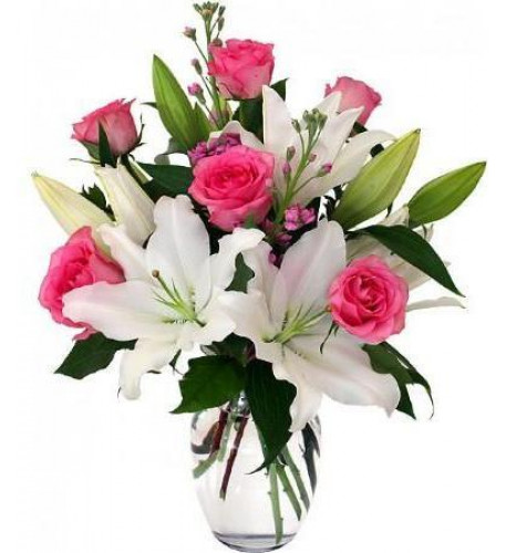 Pink Roses And White Lilies Vase