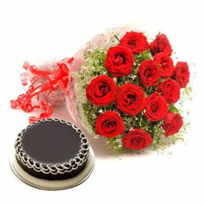 12 Red Roses Bouquet And 1 Kg Chocolate Cake