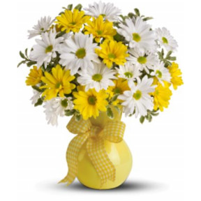 White and yellow daisies vase (Small)