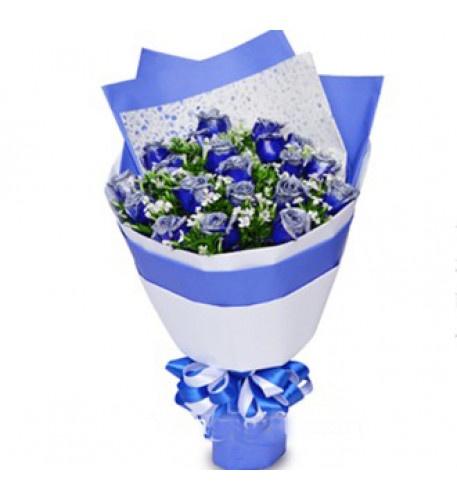 Extraordinary 18 Blue Rose Bouquet To Macau