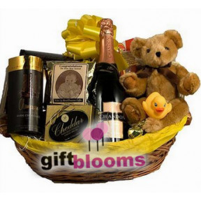 New Baby Champagne Gift Basket