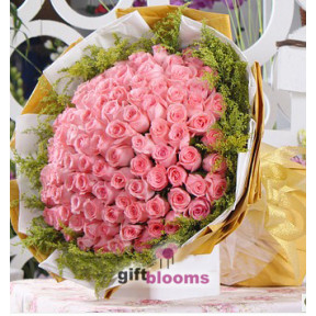Exquisite 100 Pink Rose Bouquet to Macau