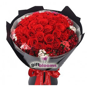 I Love You Bouquet Three Dozen Red Rose to Taiwan