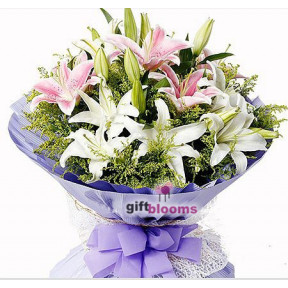 Stunning Pink and White Lilies to Hong Kong