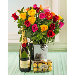 Classic Champagne & Flower Gift Set to Japan