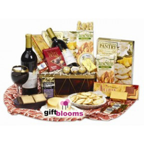 Wine, Chocolate and Cheese Deluxe Basket to Japan