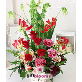 Seasonal Flower Basket to Japan Red Tone