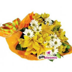 Yellow Charm Bouquet to Japan