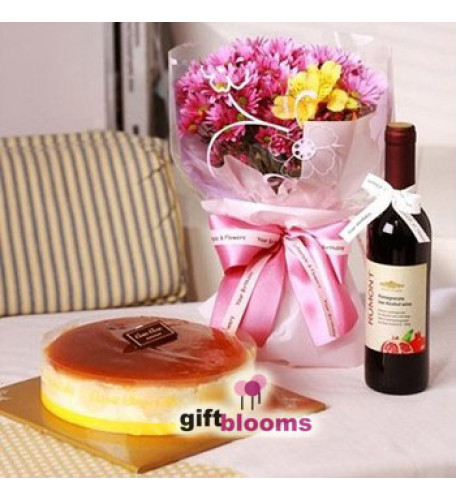 Flower, Cake and Wine Combo to Korea