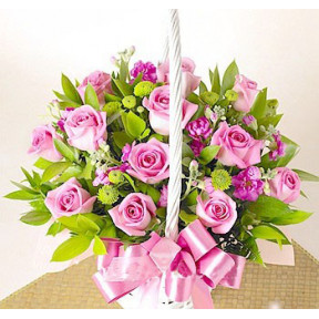 Pink Flower Basket to Korea
