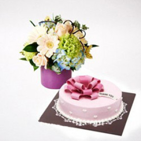 Thank-you Cake and Flower Combo to South Korea-Style 1