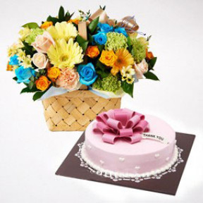 Thank-you Cake and Flower Combo to South Korea-Style 3