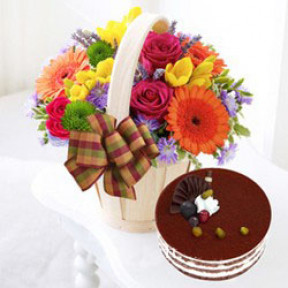 Flower Basket Plus Cake to South Korea