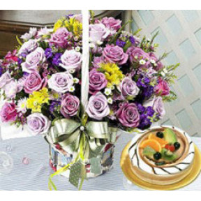 Deluxe Flower Basket With Cake to South Korea