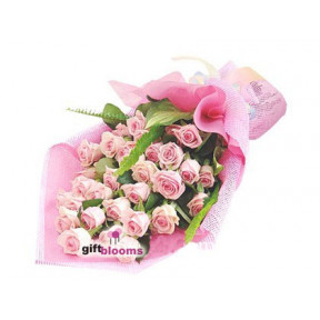 Exquisite Pink Rose Bouquet To South Korea
