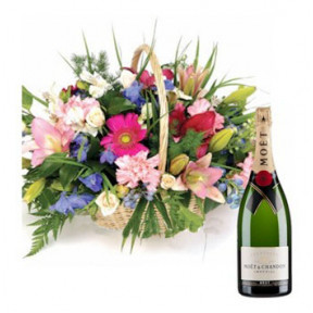 Flower Basket And Moet Champagne To Taiwan