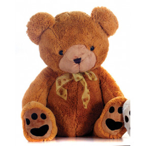Plush Brown Bear 75 Cm High With Bow