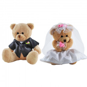 Bride and Groom Teddy Bears Wedding Pair soft plush toys Elka