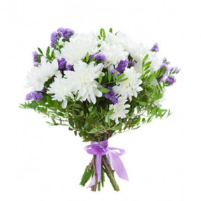 White Chrysanthemum and Limonium Bouquet NoraInclude