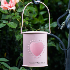 Couples Personalised Metal Pink Candle Holder