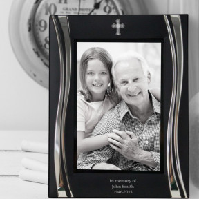 Engraved Luxury Black Swirl Photo Frame - In Loving Memory
