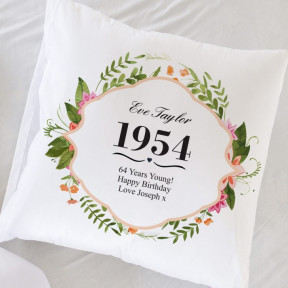 Personalised Cushion Cover - Birthday Floral Design