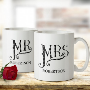 Personalised Dotty Mr and Mrs Mug Set