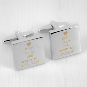 Personalised Keep Calm and Marry Me Cufflinks
