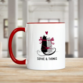 Personalised Red Rimmed Mug - Purr-Fect Love