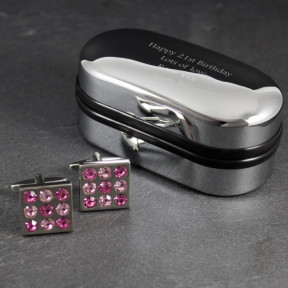 Personalised Rose Checked Cufflinks